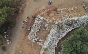 Imatge aèria de l'excavació a la murada de Son Catlar en 2016
